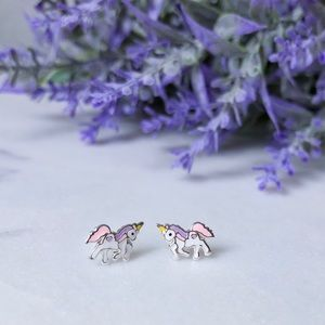 Unicorn stud earrings 925 Sterling Silver